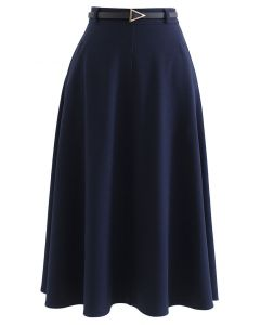 Slanted Side Pocket Belted A-Line Midi Skirt in Navy