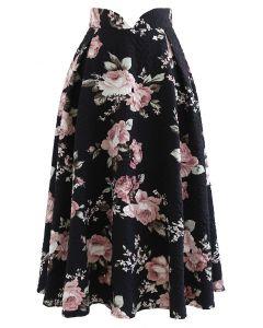 Embossed Floral Pleated Midi Skirt in Black