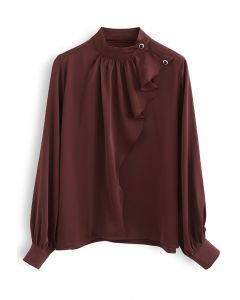 Buttoned Ruffle High Neck Satin Top in Burgundy