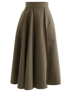 High Waist Seam Detailing A-Line Midi Skirt in Khaki