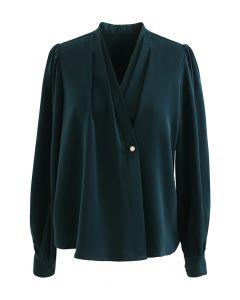 Buttoned Surplice Sleek Satin Top in Emerald