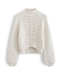 Exaggerated Ribbed High Neck Chunky Knit Crop Sweater