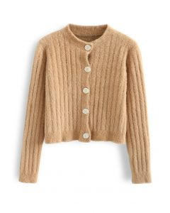Button Down Cropped Fuzzy Knit Cardigan in Camel
