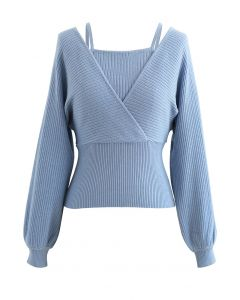 Fake Two-Piece Cold-Shoulder Wrap Knit Top in Dusty Blue