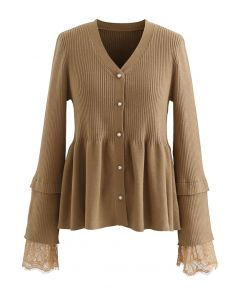 Lace Inserted Peplum Knit Top in Caramel