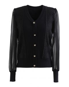 Sheer-Sleeve Lacey Button Trim Knit Top in Black