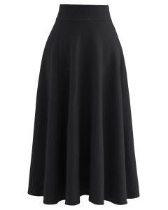 Fuzzy Soft Knit A-Line Midi Skirt in Black