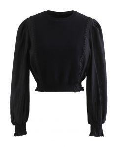 Spliced Sheer-Sleeve Crop Knit Top in Black