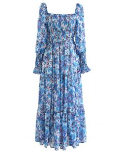 Watercolor Floral Shirred Frilling Midi Dress in Blue