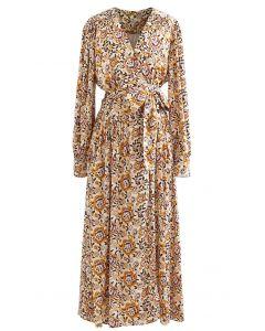 Floral Print Self-Tie Wrap Satin Midi Dress