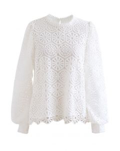 Geometric Crochet Mesh Sleeve Top in White