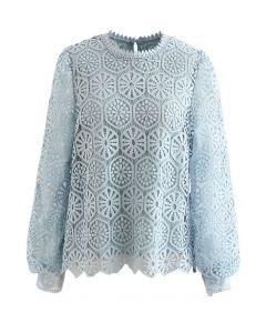 Geometric Crochet Mesh Sleeve Top in Blue