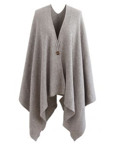 Buttoned Rib Knit Poncho Cape in Taupe
