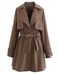 Storm Flap Button Down Mini Coat Dress in Brown