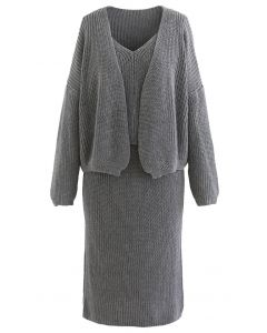 Three-Piece Rib Knit Cardigan and Pencil Skirt Set in Grey