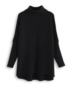 Effortless Chic Turtleneck Batwing Sleeve Hi-Lo Sweater in Black