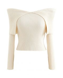 Flap Collar Off-Shoulder Crop Knit Top in Ivory