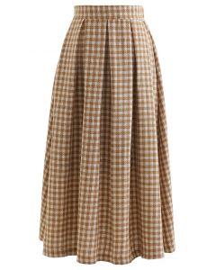 Shimmer Gingham Pleated Midi Skirt in Camel