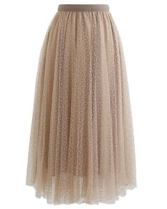 Lacy Chain Double-Layered Mesh Tulle Midi Skirt in Light Tan