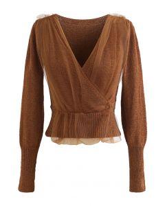Mesh Overlay Long Sleeve Wrap Crop Knit Top in Caramel