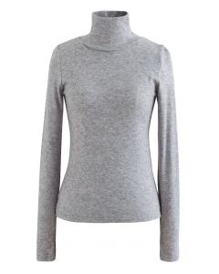 Turtleneck Thumb Hole Fitted Knit Top in Grey