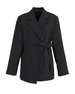 Self-Tie Front Pad Shoulder Blazer in Black