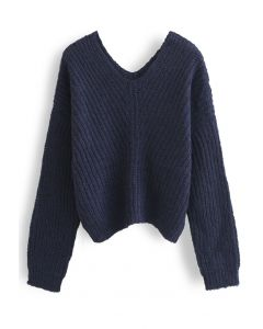 V-Neck Hollow Out Knit Sweater in Navy