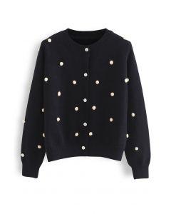 Contrast Pom-Pom Ball Knit Cardigan in Black