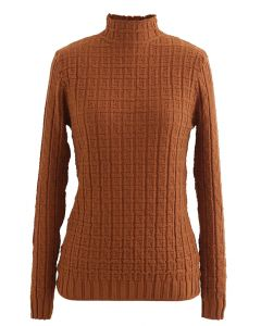 Maze Embossed High Neck Fitted Knit Top in Caramel