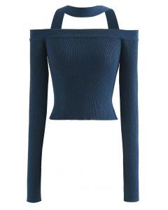 Halter Neck Off-Shoulder Crop Knit Top in Indigo