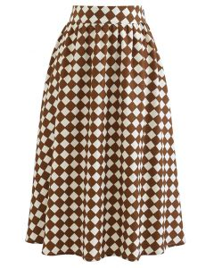 Contrasted Diamond Pattern Midi Skirt in Brown