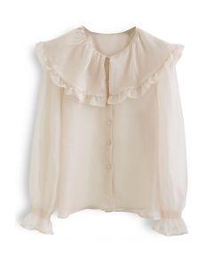 Exaggerated Peter-Pan Collar Sheer Shirt in Nude Pink