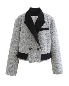 Cropped Pad Shoulder Tweed Blazer in White
