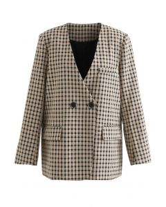 Classy Check Pattern Collarless Blazer