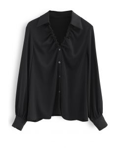 Ruched V-Neck Button Down Satin Top in Black