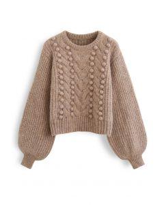Fuzzy Pom-Pom Ribbed Mix-Knit Sweater in Brown