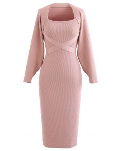 Halter Neck Bodycon Knit Dress with Sleeve Sweater in Pink