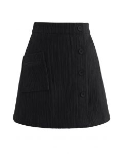 Button Decorated Corduroy Mini Bud Skirt in Black