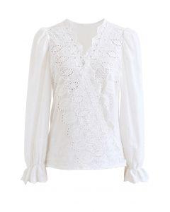 Embroidered Surplice Neck Cotton Wrap Top in White