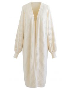 Rib Knitted Open Front Longline Knit Cardigan in Cream