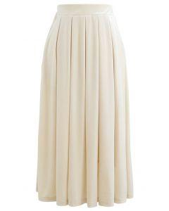 Velvet Sheen Pleated Midi Skirt in Cream