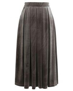 Velvet Sheen Pleated Midi Skirt in Grey