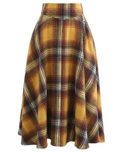 Multicolor Check Print Wool-Blend A-Line Skirt in Mustard
