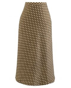 Full Spot Print Midi Skirt in Caramel