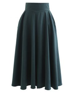 Classic Side Pocket A-Line Midi Skirt in Green