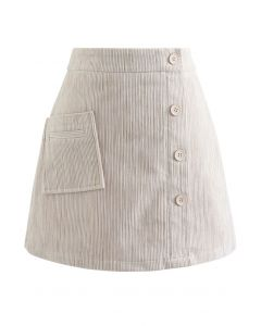 Button Decorated Corduroy Mini Bud Skirt in Sand
