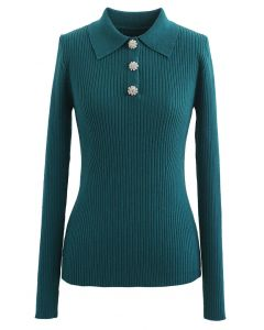 Brooch Button Collared Fitted Knit Top in Dark Green