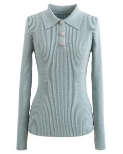 Brooch Button Collared Fitted Knit Top in Mint