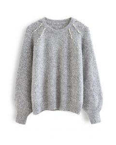 Pearly Shoulder Fuzzy Knit Sweater in Grey