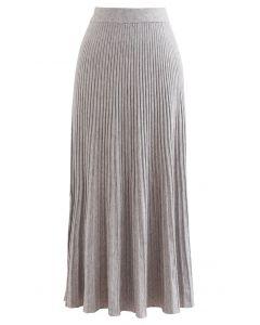 Side Vent High Waist Knit Skirt in Linen